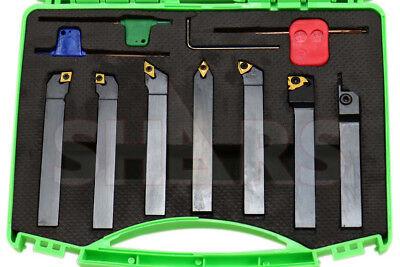 Shars 7pcs 12 Indexable Carbide Turning Threading Lathe Tool Insert Set New