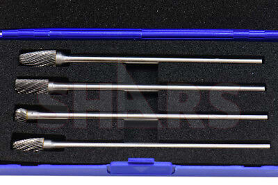Shars 4 Piece 14 Long Double Cut Shank Carbide Burr Set New