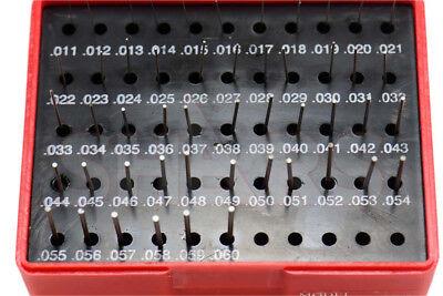 Shars 50 Pc M0 .011-.060 Class Zz Steel Pin Plug Gage Gauge Set Minus - New