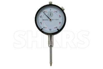 "1"" HIGH PRECISION DIAL INDICATOR .001"" AGD 2 GRADUATION LUG BACK WHITE NEW"
