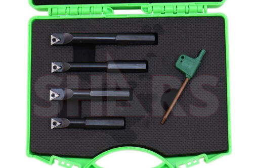 """Shars 1/2"""" Shank 4 Pieces Indexable Boring Bar Set w Free TCMT inserts New ^"""