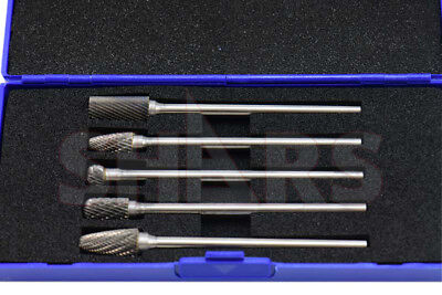 Shars 5 Piece 14 Long Double Cut Shank Carbide Burr Set New