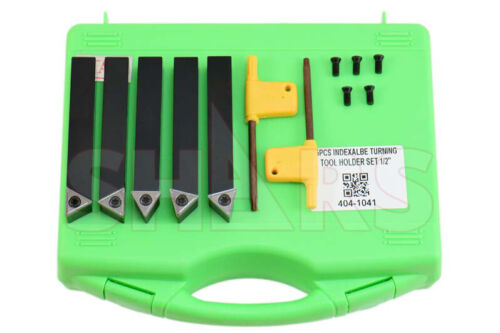 """SHARS 5PC 1/2"""" INDEXABLE TURNING TOOL BIT + INSERTS + CERTIFICATE Save $30.00 ^]"""