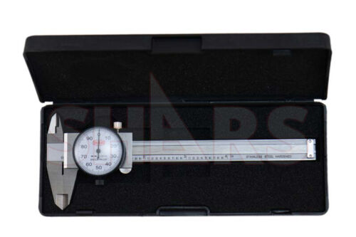 "SHARS 4"" DIAL CALIPER SHOCK PROOF .001"" STAINLESS 4 WAY + Inspection Report  P}"