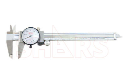 """SHARS 0-6/"""" STAINLESS 4 WAY DIAL CALIPER .001/"""" SHOCK PROOF NEW"""