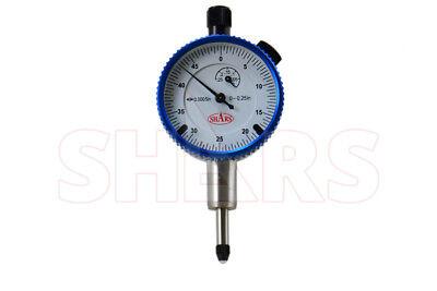Shars 0.25 High Precision Dial Indicator .0005 Agd 1 Travel Lug Back White New