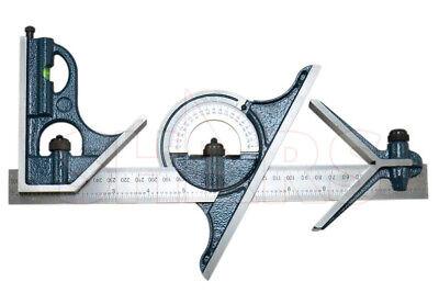 12 4 Pc Em Combination Square Sets Protractor W 12 4r Graduation Blade New