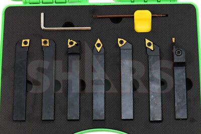 Shars 7pcs 58 X 58 Indexable Carbide Turning Threading Lathe Tool Insert Set M