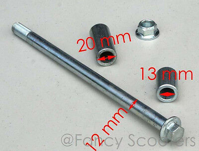 Mini Diablo Chopper TPGS-302 Front Wheel Axle with Spacer,Lock Nut M 12 x 225mm