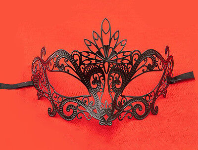 Mask from Venice Pavone Venetian Lace Metal Black 414