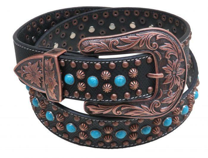 Nocona Western Womens Belt Leather Floral Tooled Turquoise Underlay Tan N3412308