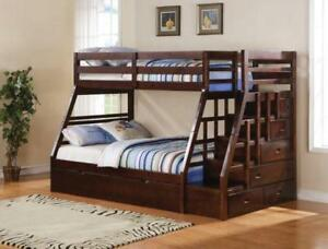 Twin over Full Kids Bunk Bed w/ Stairs and Twin Trundle Bed - Kids Furniture at Xiorex Home Furniture Store