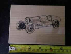 Brand new large vintage racing car rubber craft stamp rrp £8.95
