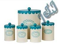 Round vintage style cream/aqua blue jars