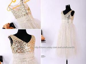 flower girl dress gold sequins ivory wedding party birthday bridesmaid