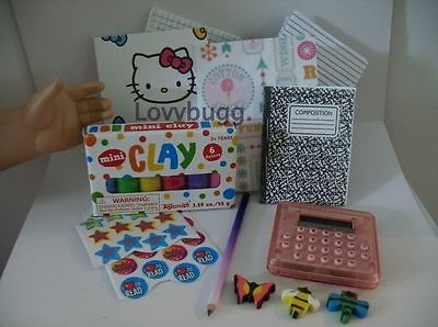 """Lovvbugg Calculator School Supplies Set with Clay for 18"""" American Girl Doll Accessory"""