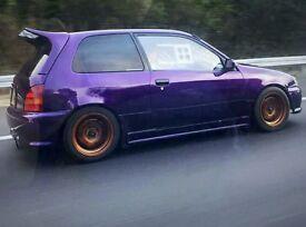 toyota starlet glanza v 241bhp turbo purple modified
