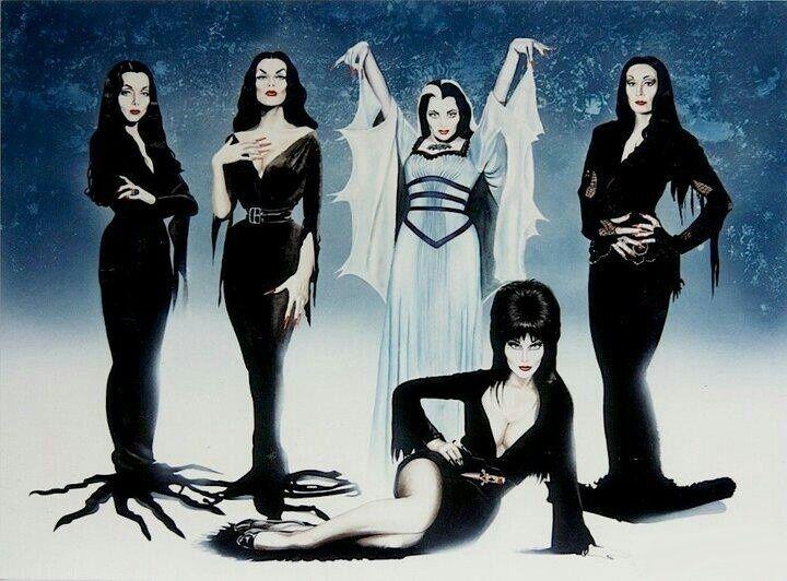 Vampira, Elvira, Morticia Adams, Lily Munster, Refrigerator Magnet, 40 MIL
