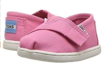 NEW UNISEX INFANT TODDLER TOMS SLIP ON CLASSIC BUBBLEGUM PINK CANVAS MEDIUM FLAT - Pink Toms Toddler