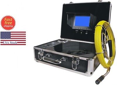 Sewer Drain Pipe Cleaning System 130ft Cable Inspection Video Snake Camera 7lcd