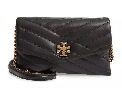 NWT Tory Burch KIRA CHEVRON CHAIN WALLET Purse Clutch Crossbody Bag - BLACK $328
