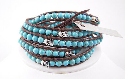Chan Luu Brown Turquois With Sterling Silver Skulls Wrap