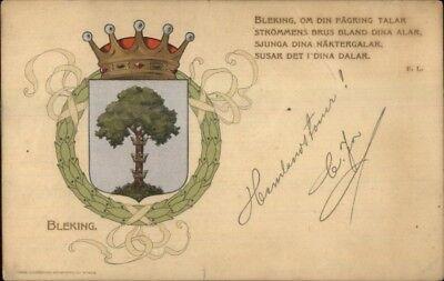 Bleking Sweden Crest Chield Heraldic c1905 Used Postcard