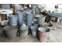 Vintage Galvanised Buckets, Pots And Other Garden Planters - Display