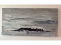 Abstract Wall Art; Island Storm an Original Canvas 100 x 50cm Hand Painted