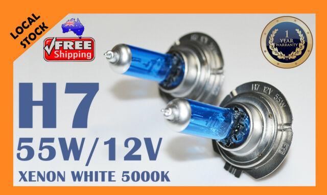 2 x H7 12V 55W Xenon White 5000k Halogen Blue Car Head Light Lamp Globes / Bulbs