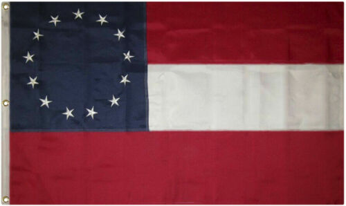 COTTON 13 Star 1st National Flag. Stars and Bars Flag, Southern Civil War Flag