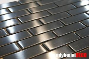 SAMPLE- Stainless Steel Brick Subway Mosaic Tile Kitchen Backsplash Sink Wall
