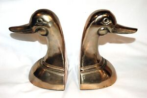 VIntage Set of 2 Classic BRASS DUCK  HEAD BOOKENDS / Paperweights 6.5