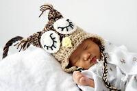 SLEEPY OWL BABY HAT - NEW CUSTOM PHOTO PROP HAND MADE CROCHET