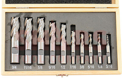 Shars 10 Pcs 316-34 Hss Four 4 Flute Hss Single End Mill Set New