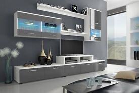 NEW! Wall Unit in grey & white &led