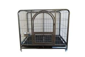 44'' Mobile Metal Wire Large Dog Cage Folding Pet Crate 212016
