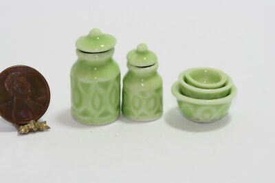 Green Kitchen Bowl - Dollhouse Miniature Kitchen Canister & 3 Bowl Nesting Set in Green