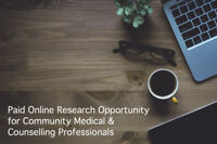 $100 Paid Research for Community & Counselling Professionals