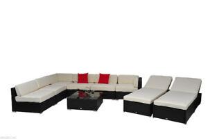 9 pcs Deluxe Outdoor Indoor Patio Rattan Wicker Sofa Sectional