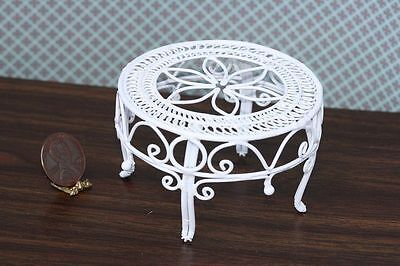 Dollhouse Miniature 1:12 Scale White Wire Victorian Table