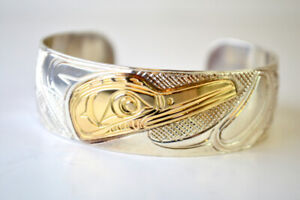 Sterling Silver and Gold Native Carved Cuff