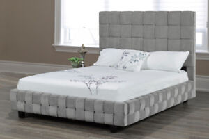 """""""MADE IN CANADA"""" Upholstered bed with a woven facing and body"""