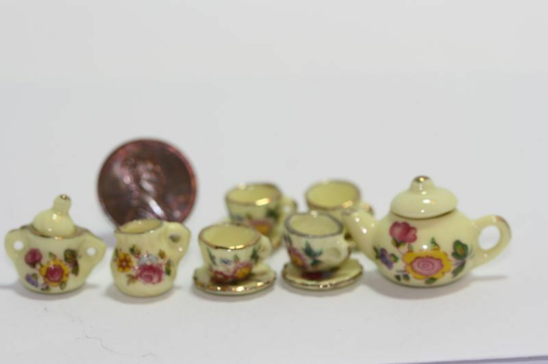 Dollhouse Miniature Yellow Floral Tea Set