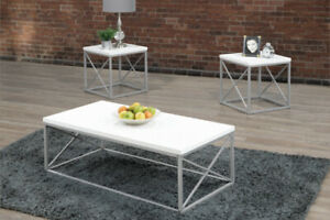 Laquered White Coffee Table Set
