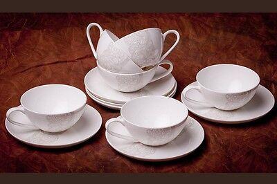 Fine Bone China Set 6 Teetassen 12-tlg. 6 Personen, NEU, Porzellan, Weiß-Beige