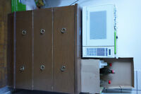 Microwave and kitchen cabinet