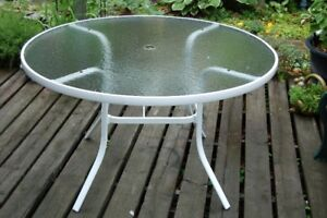 48 inch; Glass Top Patio Table
