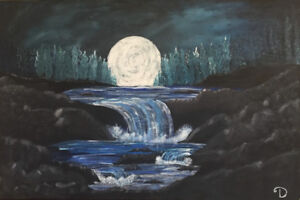 Beautiful 24x36 Canvas River moon masterpiece with water flow