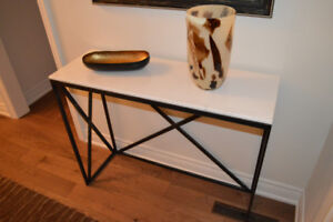 MARBLE ENTRY TABLE WITH BLACK IRON LEGS & MATCHING MIRROR